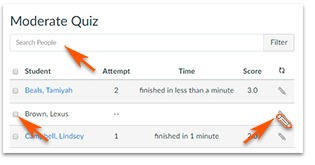 Find and select student to click the Pencil icon to edit through the Moderate Quiz window.