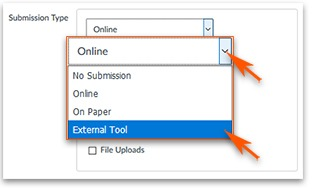 Submission type, External Tool highlighted