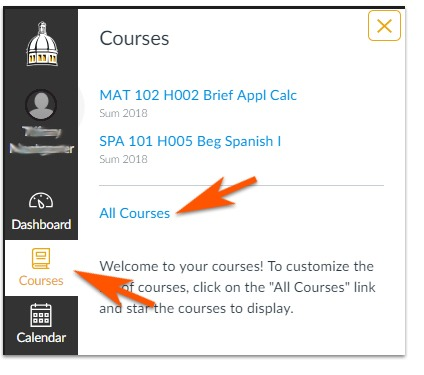 Courses select All Courses