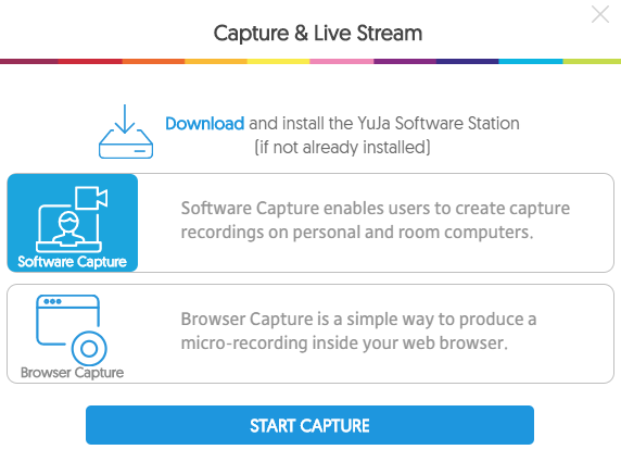 Yuja Capture and Live Stream window