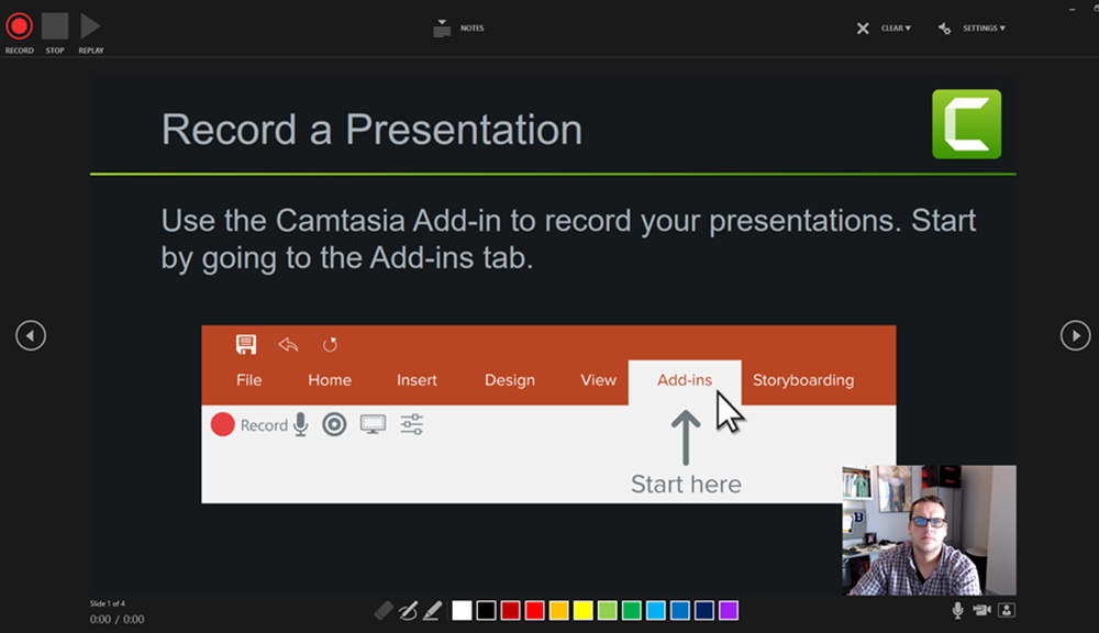 PowerPoint Recording Screen