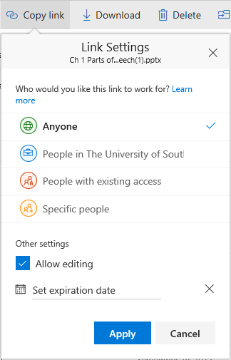 Office365 One Drive Sharing Options