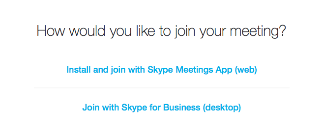 Skype Meeting Options
