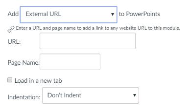 Canvas Module External URL Menu