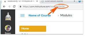 Image of the browser address bar indicating the course id, 5 numbers, follows https://usm.instructure.com.