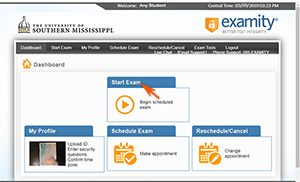 Examity Dashboard with arrow pointing at Start Exam