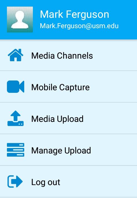 Yuja Mobile App Menu