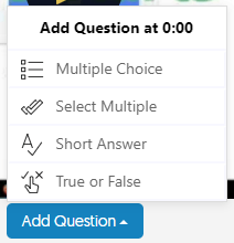 Yuja Quiz Add Question Button